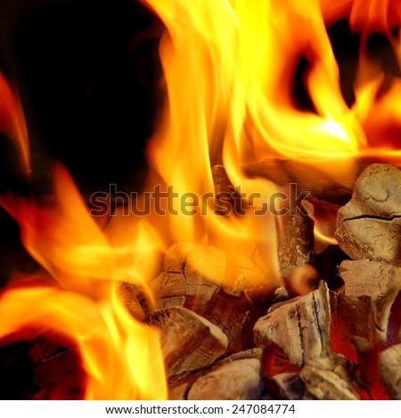 Blaze Charcoal Fire Flame Background or Texture - stock photo