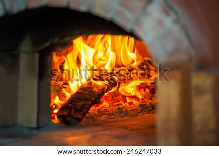 Blaze of fire in the traditional brick oven for baking