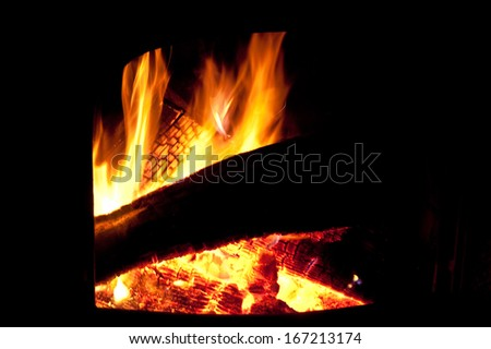 Blazing fire in a wood burning stove
