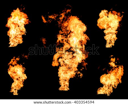 Blazing fire raging flame of burning gas or oil photo set isolated on black background - stock photo