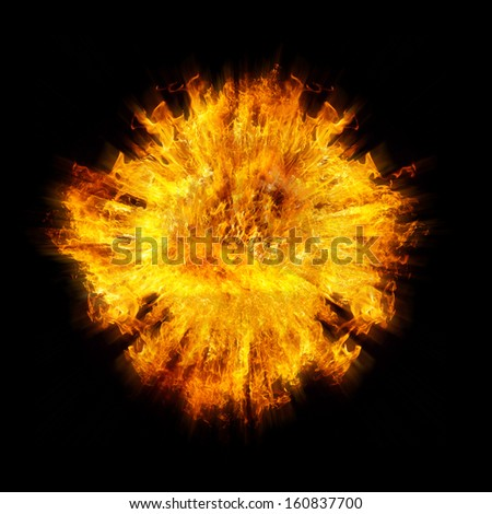 Blazing flames explosion over black background