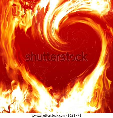 Blazing heart - stock photo