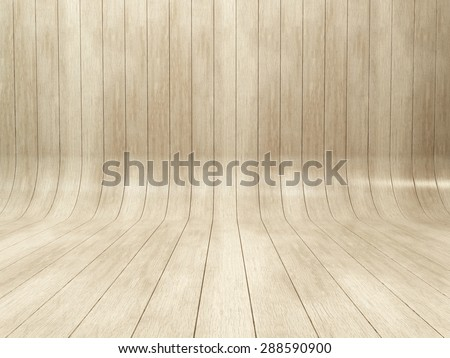 Bleached oak wooden background. Bended wood wall made of curved planks - stock photo