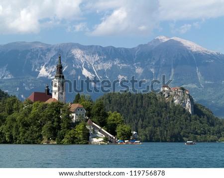 Bled Lake - Blejsko jezero in Slovenia with Julian Alps - stock photo