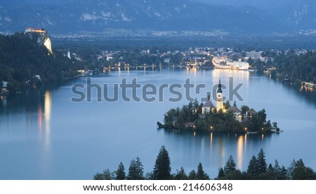 Bled Lake in Julian Alps, Slovenia - stock photo
