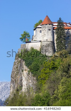 Bled, Slovenia - fortress on the hill - stock photo