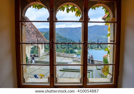 BLED, SLOVENIA - OCTOBER 21, 2015: View from the window of Bled Castle, Slovenia