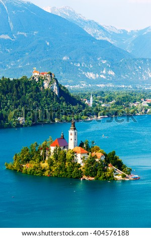 Bled with lake in summer, Slovenia, Europe