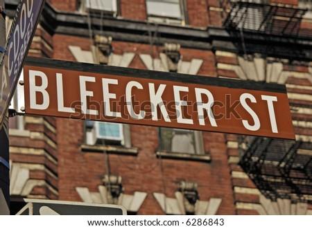 Bleecker Street sign in Manhattan's Greenwich Village. - stock photo