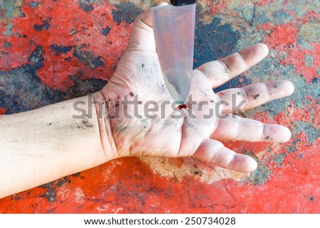 Bleeding hands, because the knife - stock photo
