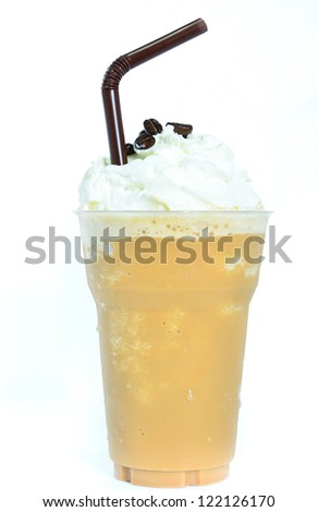 Blended iced coffee whipped cream. - stock photo