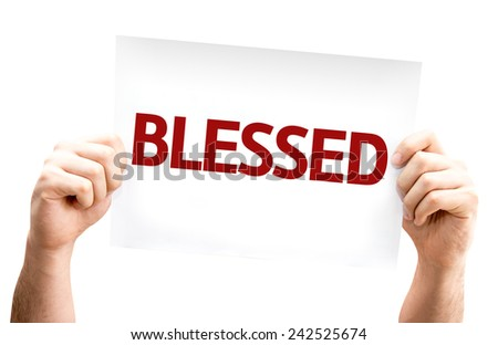 Blessed card isolated on white background - stock photo