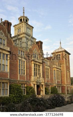 Blickling Hall at dusk, in Blickling near Aylsham in Norfolk, UK. - stock photo