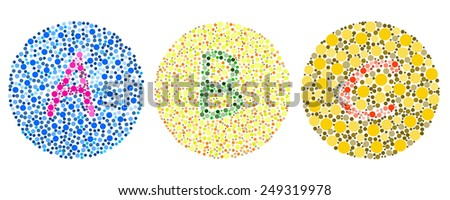 blind colour test in ABC - stock photo