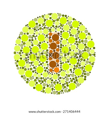 Blind colour test, Ishihara Test. daltonism,color blindness disease. perception test in letter I - stock photo