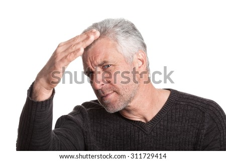 blind old man eyeing gray brown isolated on white background