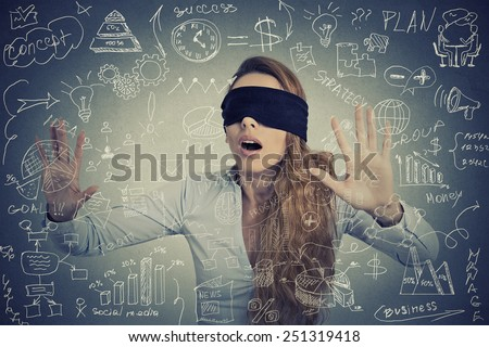 Blind young businesswoman making plans going through social media  - stock photo