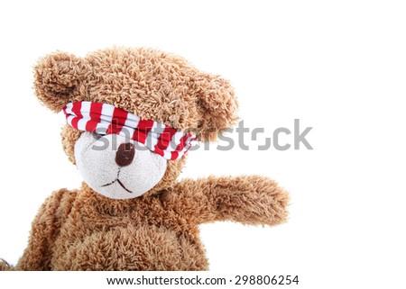 blindfold teddy bear - stock photo