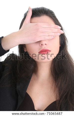 Blindfolded business woman in black suit - stock photo