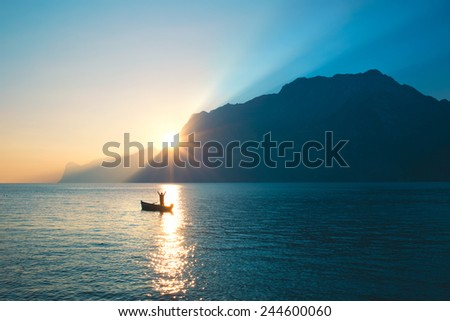 Blissed Man exulted under amazing view - stock photo