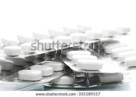 Blister of tablets isolated on a wiht background