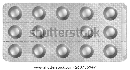 Blister Packet of Pills isolated on white background with clipping path