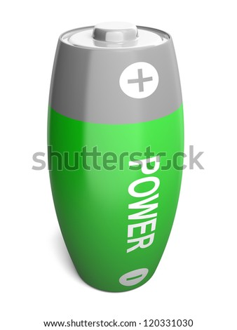 Bloated green battery illustration isolated on white background - stock photo