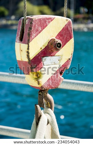 Block and Tackle aboard a ship