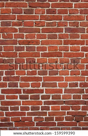 block background . old brick wall of red bricks. - stock photo