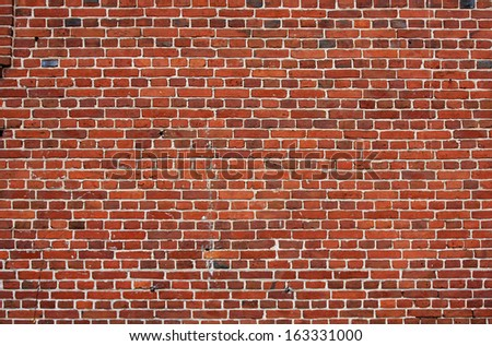 block background . old brick wall of red bricks. - stock photo