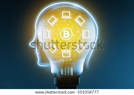Block chain network concept and bitcoin icons, Light bulb and computer network connect on blue background. Distributed ledger technology. Blockchain concept