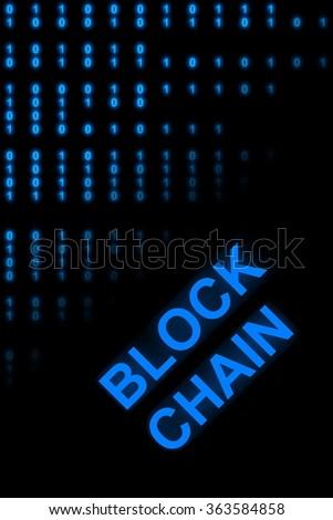 Block Chain symbolic with binary numbers - stock photo