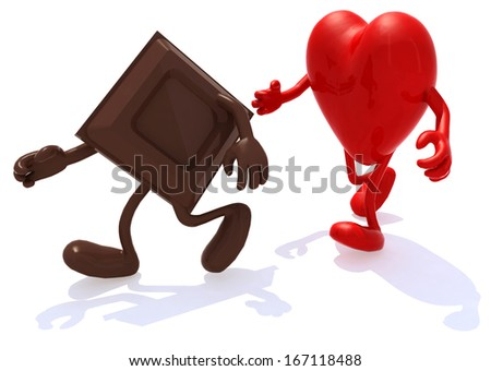 block chocolate chased by human denture, 3d illustration - stock photo
