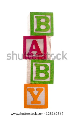 block letters that spell baby isolated on white background
