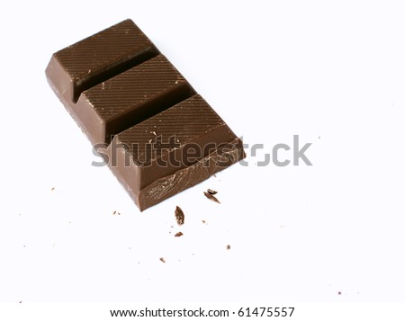 block of chocolate on white background