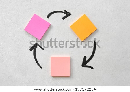 block of coloured sticky notes - stock photo