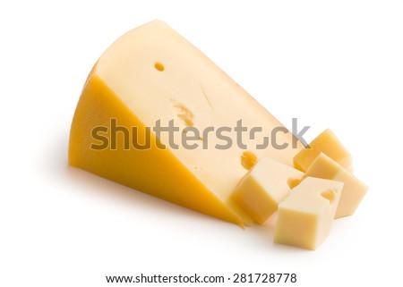 block of edam cheese on white background - stock photo