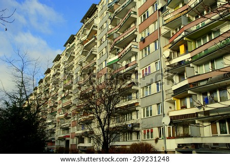 Block of flats in Poland (Wroclaw, Popowice) - stock photo