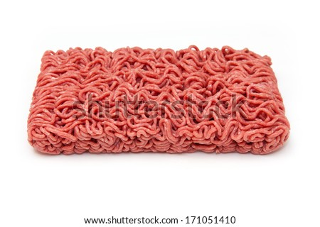 Block of Minced beef (500g)  isolated on a white studio background.