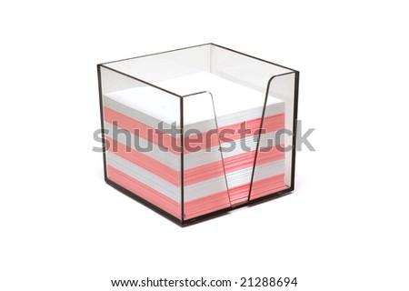 Block of note paper in plastic case - stock photo