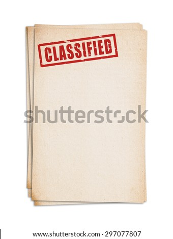 Block of old papers with classified stamp. Clipping path.