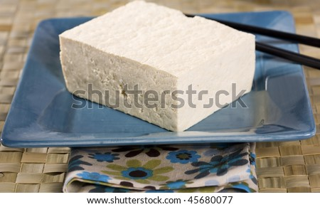 Block of Tofu on Turquoise Square Plate