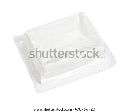 Block of vacuum soft wrap box package isolated on white background with clipping path