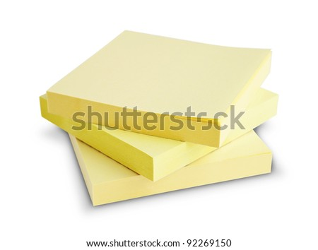 Block of yellow Post it Notes isolated on white - stock photo