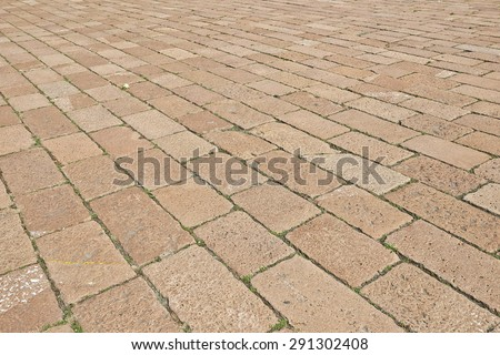 Block paving pattern. Paved with stones with weeds between bricks - stock photo