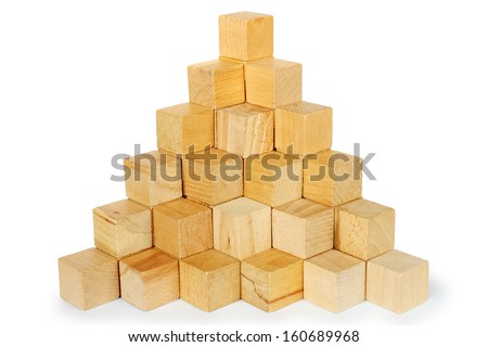 Block stairs build in a pyramid shape, showing you there is only room for one at the top - stock photo