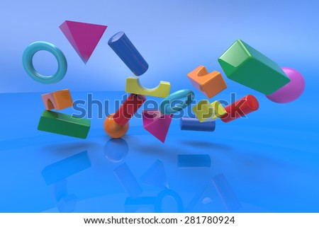 block toys collapse on blue background - stock photo