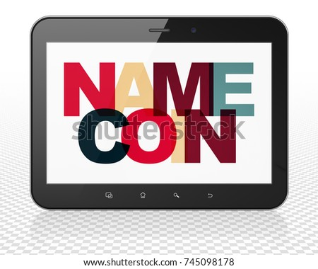 Blockchain concept: Tablet Pc Computer with Painted multicolor text Namecoin on display, 3D rendering