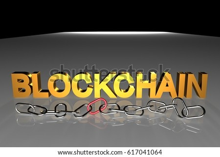 blockchain text in 3D with a metal chain. this represents the concept of blockchain technology
