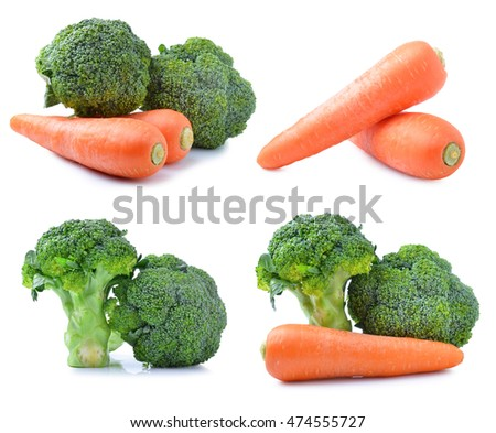 Blocked Kerry and carrots isolated on white background.